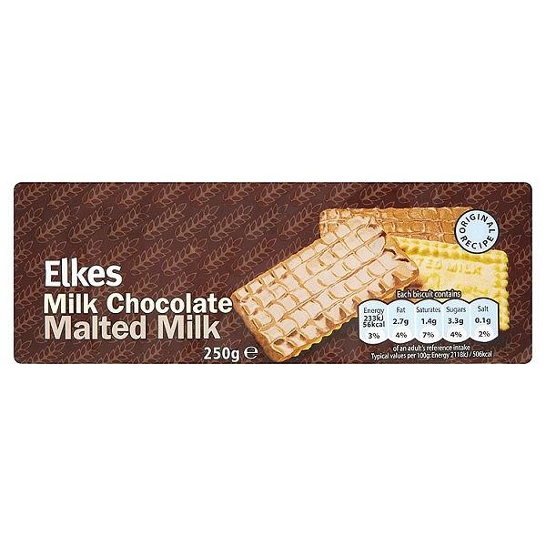 Elkes Milk Chocolate Malted Milk 250g (30 PACKS)