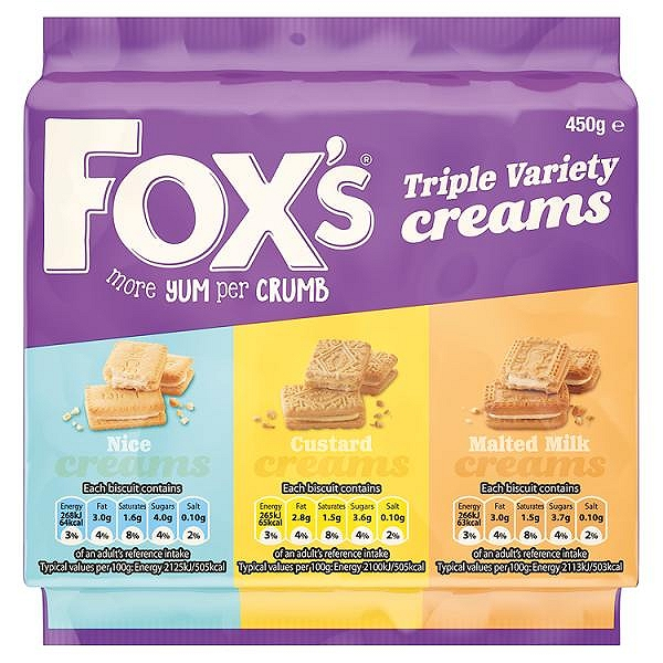 Fox's Triple Variety Creams 450g(12 PACKS)