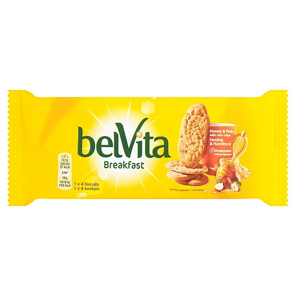 Belvita Breakfast Biscuits Duo Crunch Strawberry and Live Yogurt 60p 50.6g (18 PACKS)
